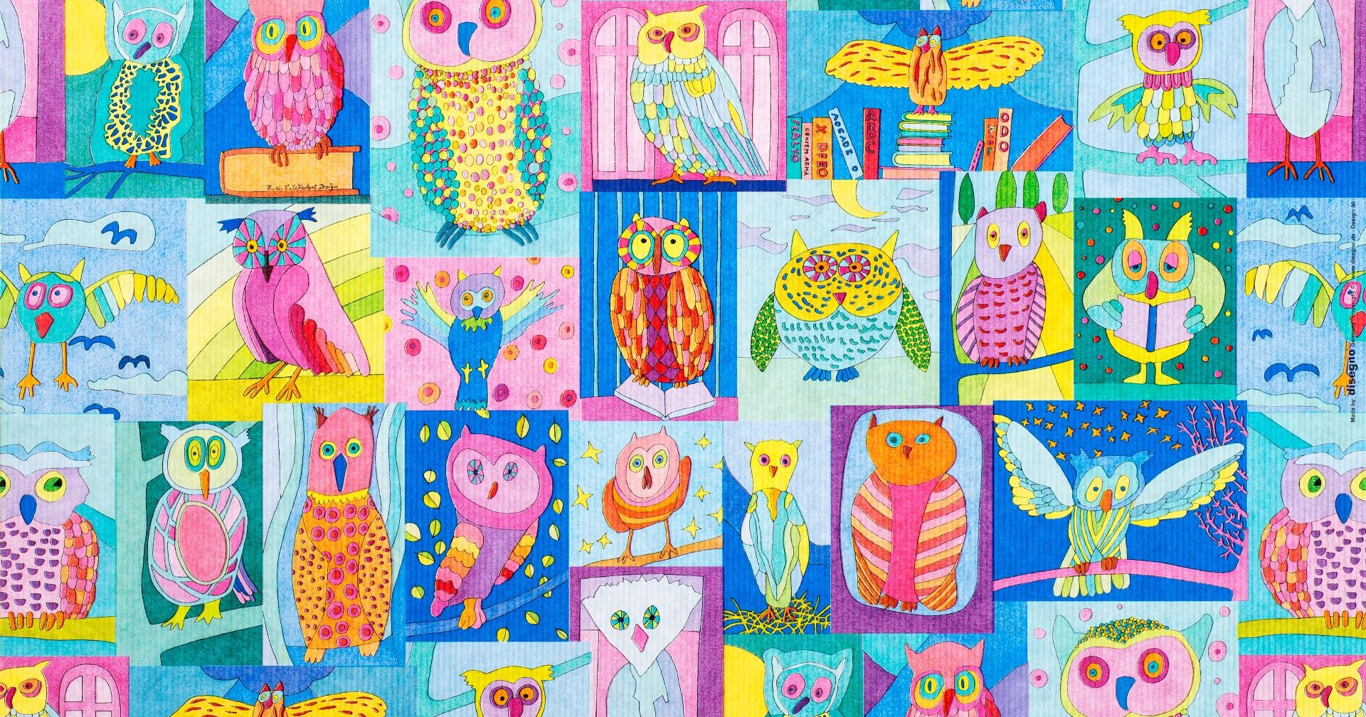 Geschenkpapier Kinder + Jugend | Lese Eulen | Geschenkpapieransicht