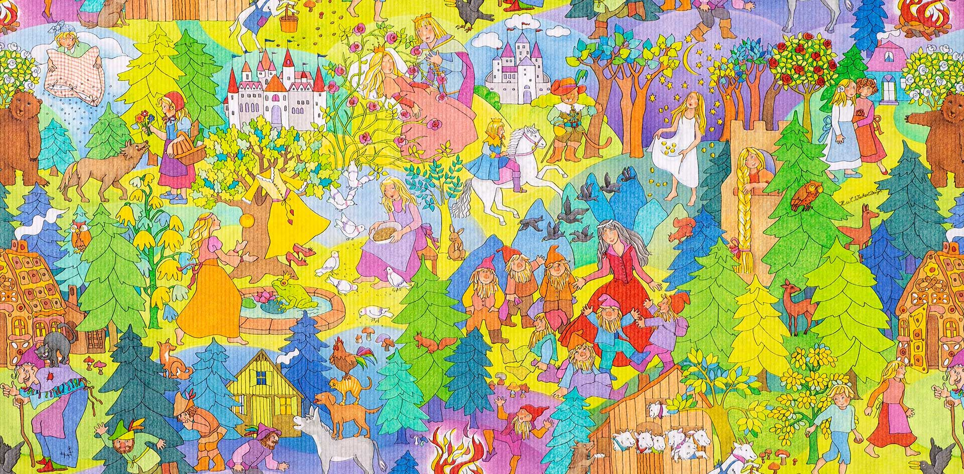 Geschenkpapier Kinder   Grimms Märchen   Geschenkpapieransicht