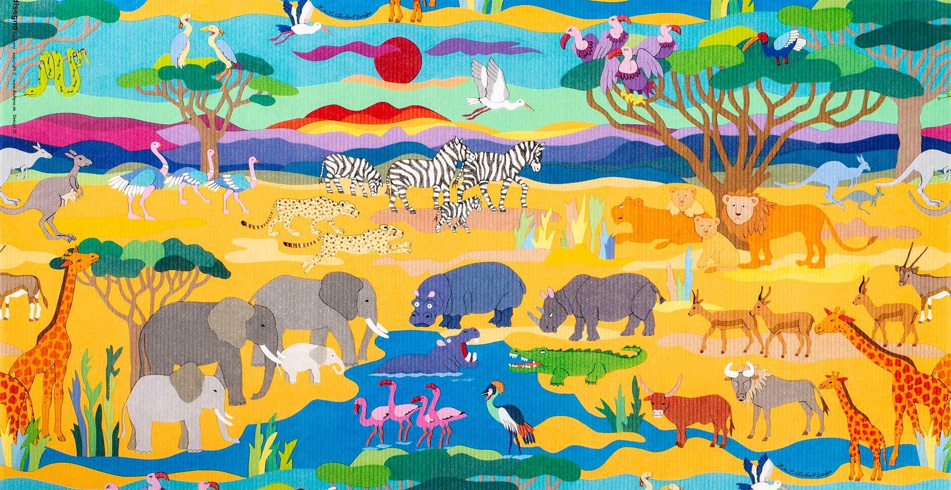 Geschenkpapier Kinder + Jugend | Wildlife / Safari | Geschenkpapieransicht
