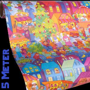 Geschenkpapier Kinder | Weihnachtsmarkt | Geschenkpapieransicht