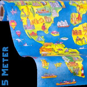 Geschenkpapier Weltkarte one World, Papierausschnitt