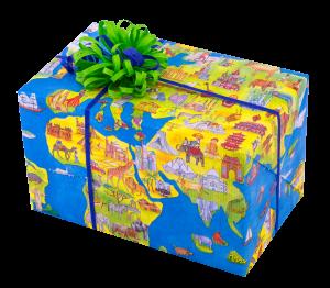 Geschenkpapier Weltkarte one World, Päckchen