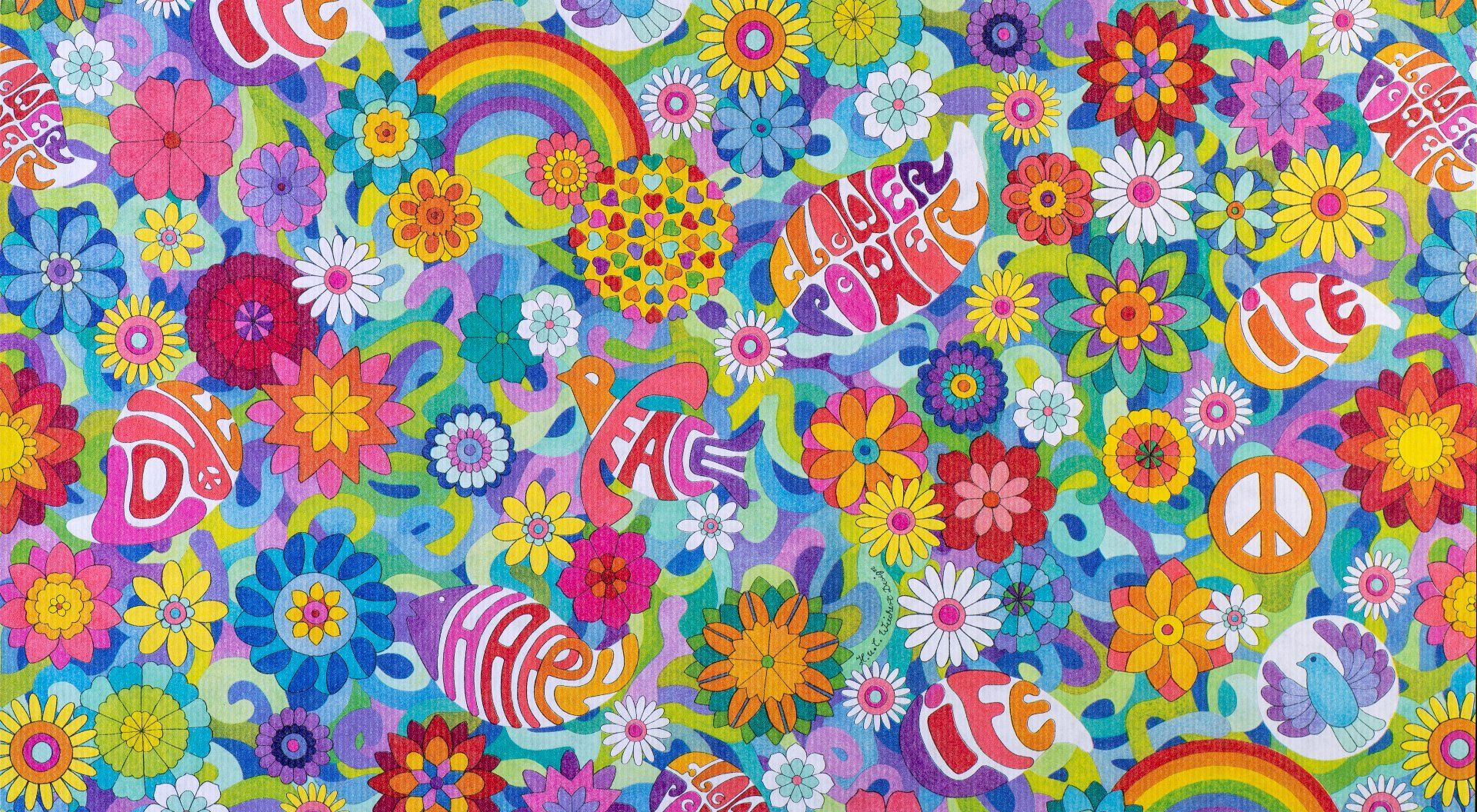 Flower Power Geschenkpapier für Kinder + Jugend | Geschenkpapieransicht