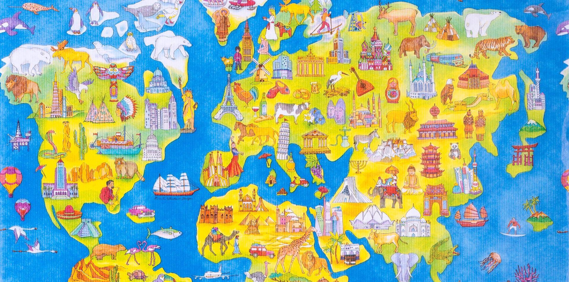 Geschenkpapier Weltkarte one World, Geschenkpapier Ausschnitt