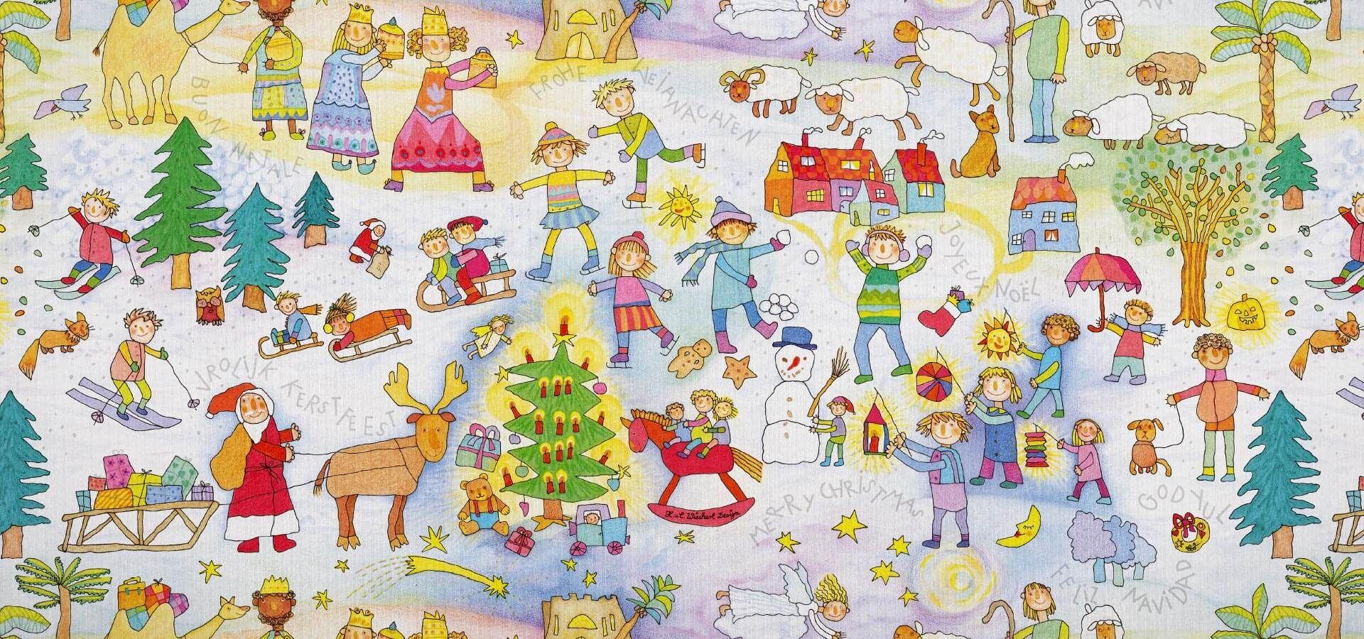 Geschenkpapier Kinder | Kinder Weihnachten | Geschenkpapieransicht