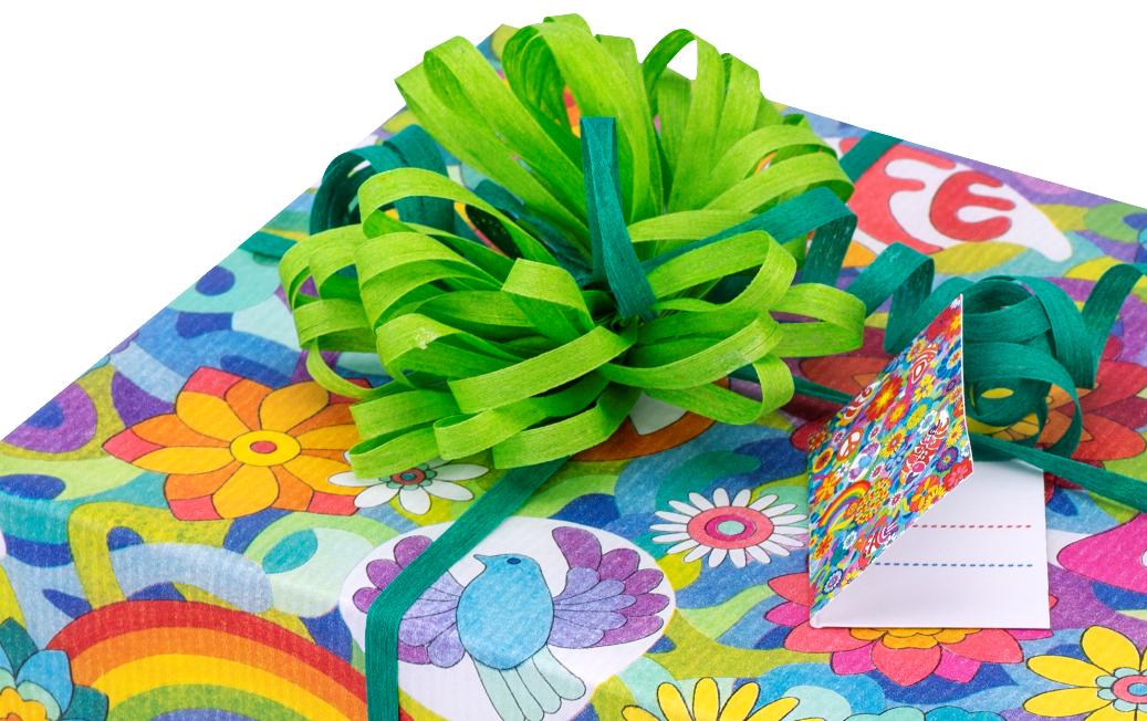 Geschenkband 2-farbig, Geschenkpapier Flower Power