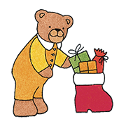 Bärchen legt Geschenke in Nikolaus Stiefel