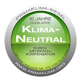 Prima Klima Siegel Disegno 10 Jahre CO2-neutral
